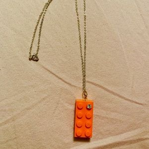 ModCloth Sterling Silver Orange LEGO Necklace